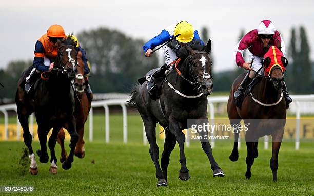 Ryan Moore riding Graphite Storm win The Dubai Duty Free Nursery Handicap Stakes at Newbury Racecourse on September 17 2016 in Newbury England