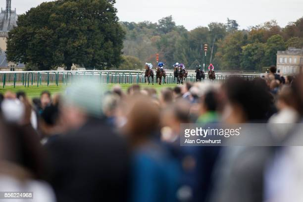 Ryan Moore riding Happily win The Qatar Prix JeanLuc Lagardere during Prix de l'Arc de Triomphe meeting at Chantilly Racecourse on October 1 2017 in...