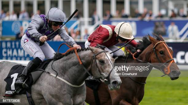 Ryan Moore riding Heartache win The Wainwrights Flying Childers Stakes from Havana Grey at Doncaster racecourse on September 15 2017 in Doncaster...