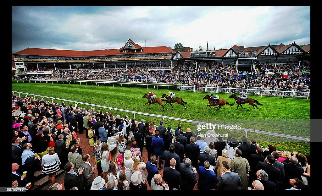 Ryan Moore riding Legend Rising (L) win The Boodles Diamond handicap Stakes at Chester racecourse on May 08, 2014 in Chester, England.