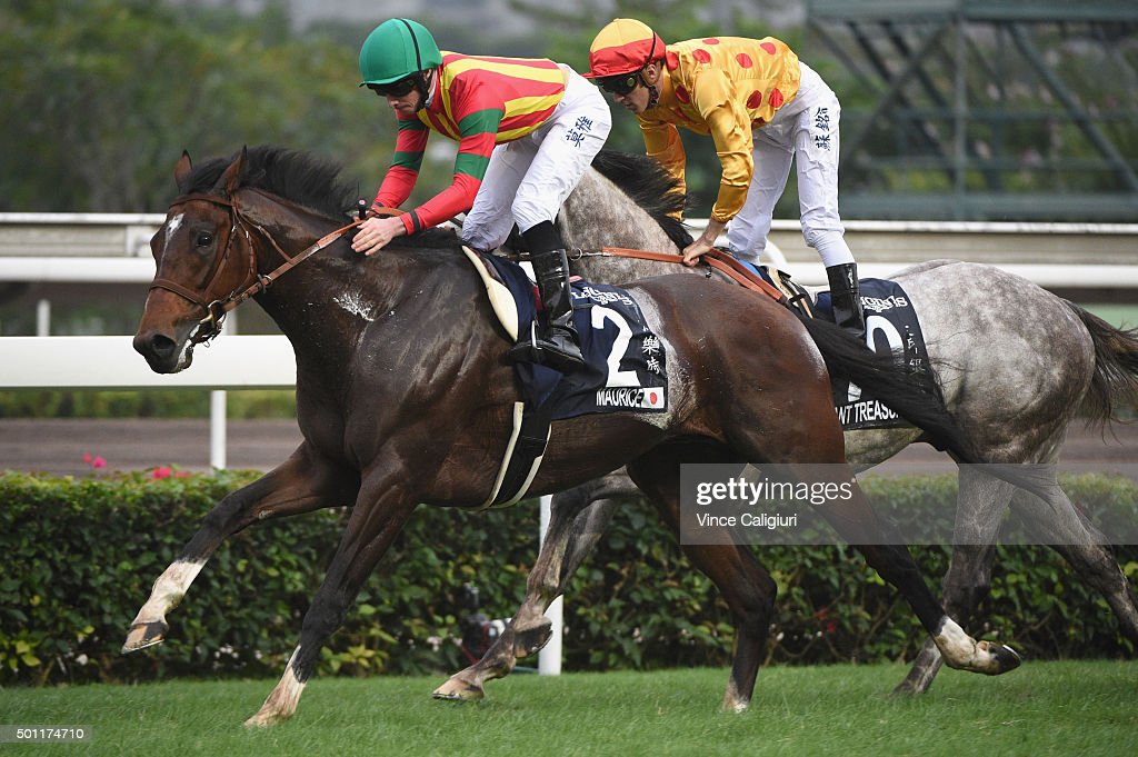 <a gi-track='captionPersonalityLinkClicked' href=/galleries/search?phrase=Ryan+Moore+-+Jockey&family=editorial&specificpeople=11563713 ng-click='$event.stopPropagation()'>Ryan Moore</a> riding Maurice from Japan defeats <a gi-track='captionPersonalityLinkClicked' href=/galleries/search?phrase=Christophe+Soumillon&family=editorial&specificpeople=453308 ng-click='$event.stopPropagation()'>Christophe Soumillon</a> riding Giant Treasure in Race 7, The Longines Hong Kong Mile during the Hong Kong International Races at Sha Tin racecourse on December 13, 2015 in Hong Kong, Hong Kong.
