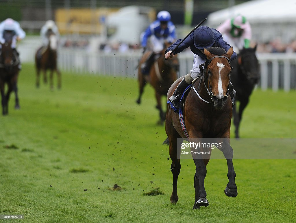 Ryan Moore riding Orchestra win The MBNA Chester Vase at Chester racecourse on May 08, 2014 in Chester, England.