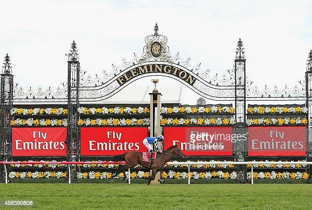 Ryan Moore riding Protectionist wins race 7 the Emirates Melbourne Cup on Melbourne Cup Day at Flemington Racecourse on November 4 2014 in Melbourne...