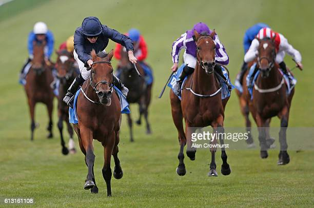 Ryan Moore riding Rhododendron win The Dubai Fillies' Mile at Newmarket Racecourse on October 7 2016 in Newmarket England