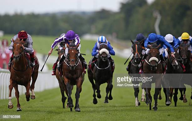 Ryan Moore riding The Gurkha win The Qatar Sussex Stakes from Galileo Gold and Frankie Dettori at Goodwood on July 27 2016 in Chichester England