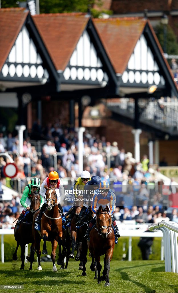 Ryan Moore riding US Army Ranger (R, dark blue) on their way to winning The MBNA Chester Vase from Port Douglas (leading) at Chester racecourse on May 5, 2016 in Chester, England.