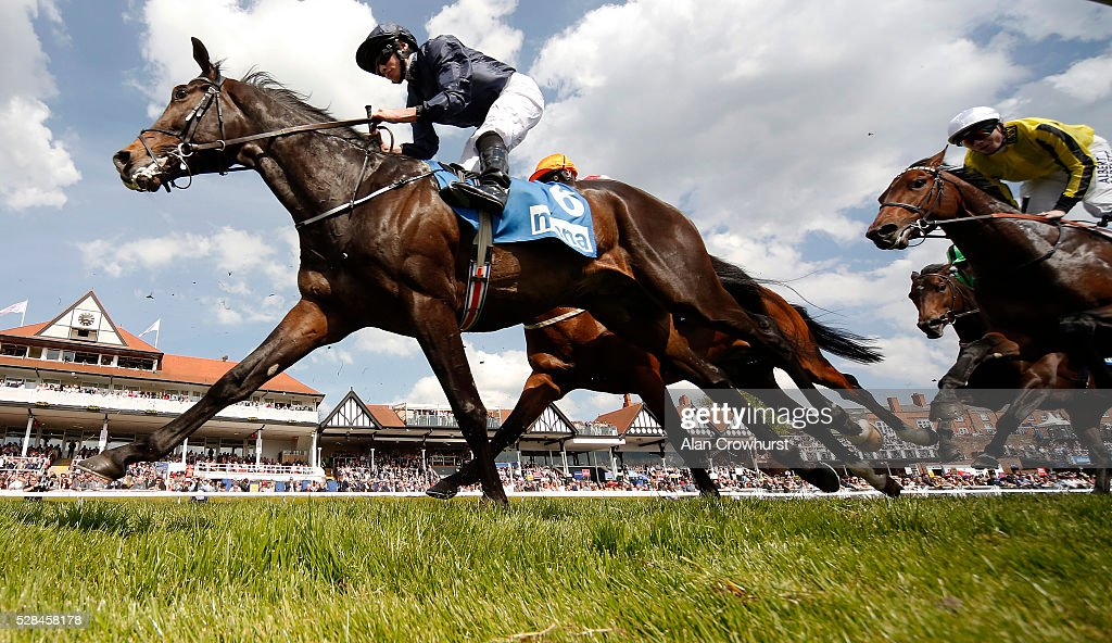 Ryan Moore riding US Army Ranger on their way to winning The MBNA Chester Vase at Chester racecourse on May 5, 2016 in Chester, England.