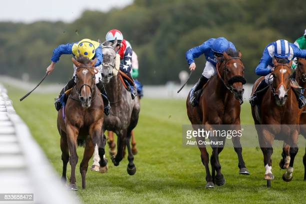 Ryan Moore ridng Ballet Concerto win The totepool Sovereign Stakes from Tabarrak at Salisbury racecourse on August 17 2017 in Salisbury England