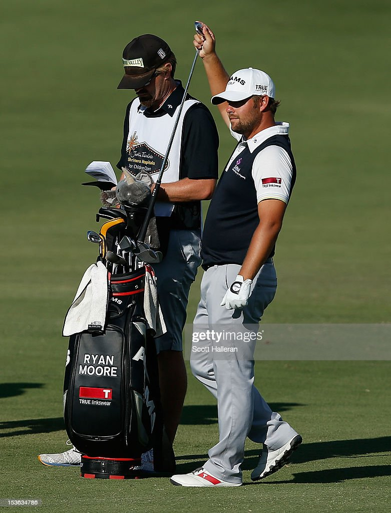 Ryan Moore waits in the 18th fairway during the final round of the Justin Timberlake Shriners Hospitals for Children Open at TPC Summerlin on October 7, 2012 in Las Vegas, Nevada.