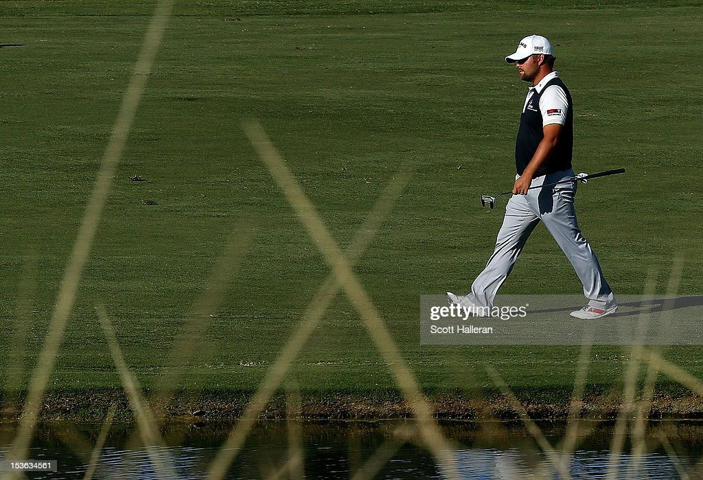 Ryan Moore walks to the 18th green during the final round of the Justin Timberlake Shriners Hospitals for Children Open at TPC Summerlin on October 7, 2012 in Las Vegas, Nevada.