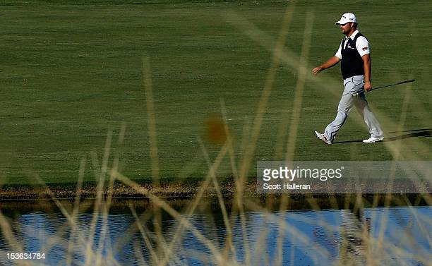 Ryan Moore walks to the 18th green during the final round of the Justin Timberlake Shriners Hospitals for Children Open at TPC Summerlin on October 7...