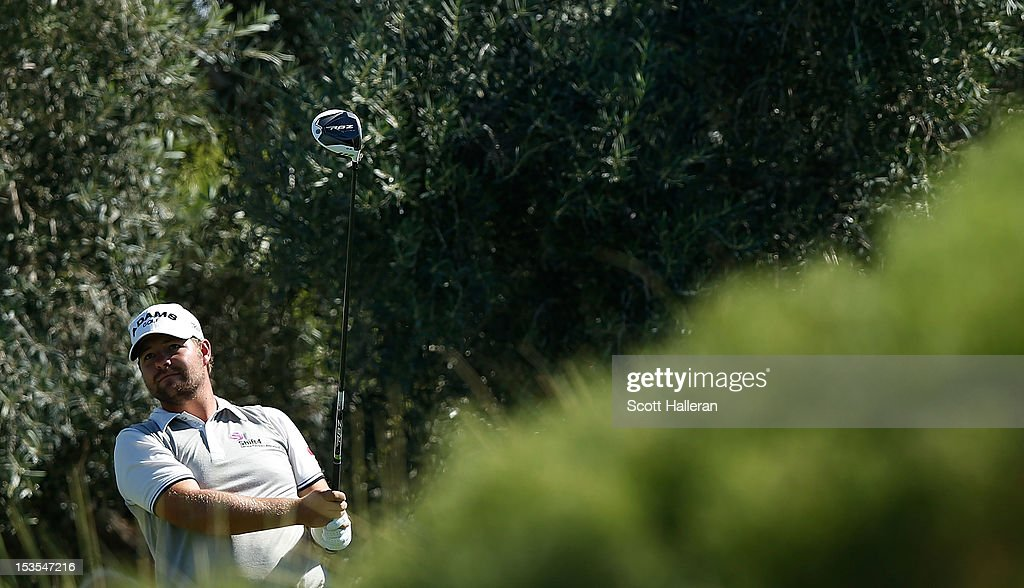Ryan Moore watches his tee shot on the ninth hole during the third round of the Justin Timberlake Shriners Hospitals for Children Open at TPC Summerlin on October 6, 2012 in Las Vegas, Nevada.
