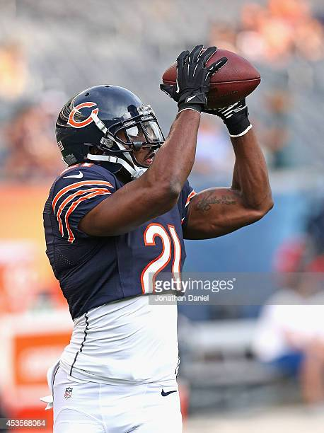 Ryan Mundy of the Chicago Bears participates in warmups before a preseason game against the Philadelphia Eagles at Soldier Field on August 8 2014 in...
