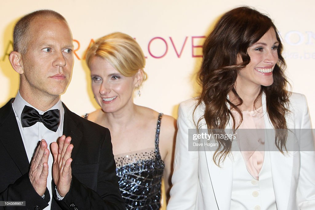 L-R Ryan Murphy, <a gi-track='captionPersonalityLinkClicked' href=/galleries/search?phrase=Elizabeth+Gilbert+-+Author&family=editorial&specificpeople=3135004 ng-click='$event.stopPropagation()'>Elizabeth Gilbert</a> and <a gi-track='captionPersonalityLinkClicked' href=/galleries/search?phrase=Julia+Roberts&family=editorial&specificpeople=202605 ng-click='$event.stopPropagation()'>Julia Roberts</a> attend the UK gala premiere of Eat Pray Love held at The Empire Leicester Square on September 22, 2010 in London, England.