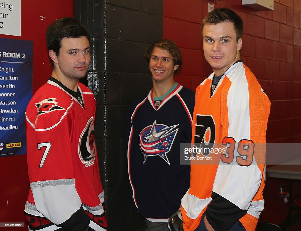 Ryan Murphy of the Carolina Hurricanes, Ryan Murray of the Columbus Blue Jackets and Scott Laughton of the Philadelphia Flyers meet with the media at the 2012 NHLPA rookie showcase at the MasterCard Centre on August 28, 2012 in Toronto, Canada.