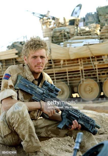 Ryan Murphy of the Household Cavalry Regiment serving alongside Prince Harry in Helmand Provence Southern Afghanistan