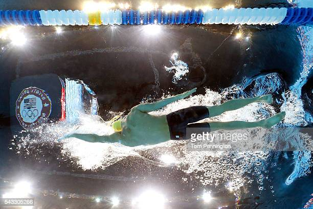 Ryan Murphy of the United States competes in a heat for the Men's 100 Meter Backstroke during Day Two of the 2016 US Olympic Team Swimming Trials at...