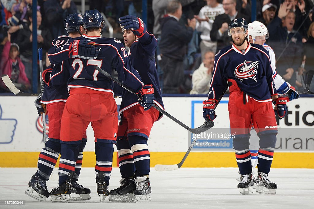 Ryan Murray #27 of the Columbus Blue Jackets celebrates his second period goal with his fellow teammates on November 7, 2013 at Nationwide Arena in Columbus, Ohio.