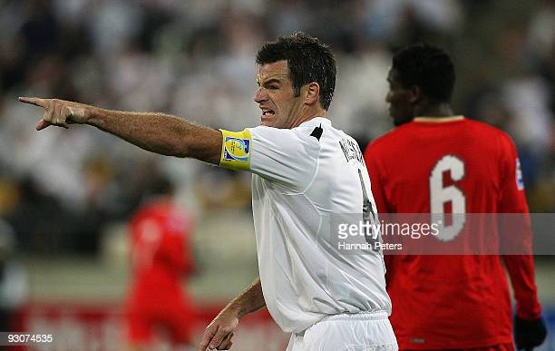 Ryan Nelsen of the All Whites directs play the FIFA World Cup Asian Qualifing match between New Zealand and Bahrain at Westpac Stadium on November 14...