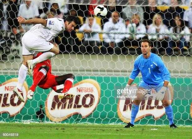 Ryan Nelsen of the All Whites makes a save in front of keeper Mark Paston during the 2010 FIFA World Cup Asian Qualifier match between New Zealand...