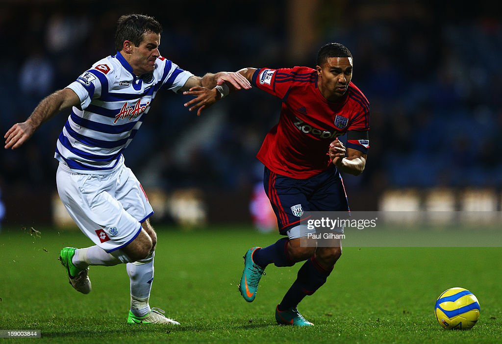 Ryan Nelson of Queens Park Rangers battles for the ball with Jerome Thomas of West Bromwich Albion during the FA Cup with Budweiser Third Round match between Queens Park Rangers and West Bromwich Albion at Loftus Road on January 5, 2013 in London, England.