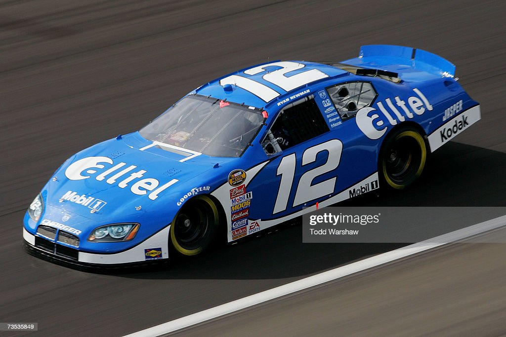 Ryan Newman driver of the Alltel Dodge drives during practice for the NASCAR Nextel Cup Series UAWDaimlerChrysler 400 at Las Vegas Motor Speedway on...
