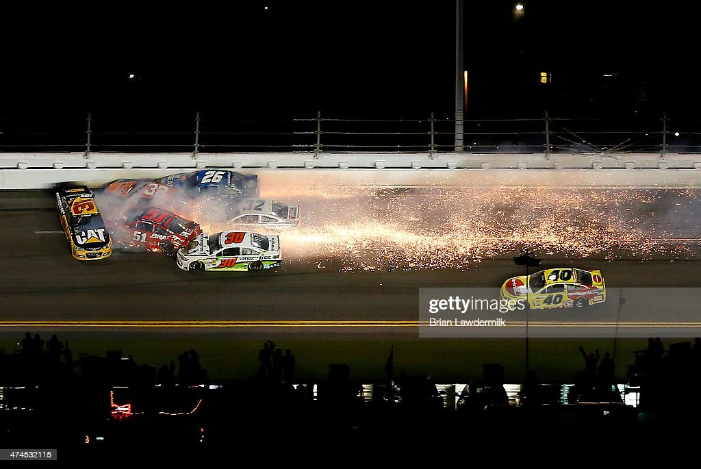Ryan Newman driver of the Caterpillar Chevrolet Justin Allgaier driver of the Brandt Professional Agriculture Chevrolet Brian Scott driver of the...
