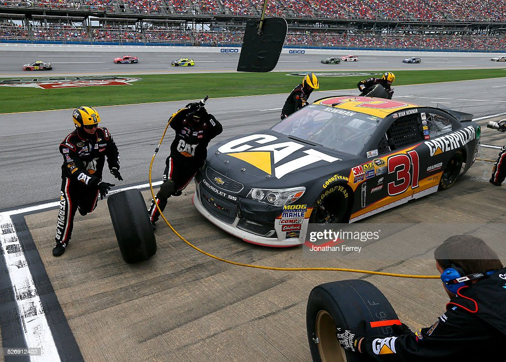 <a gi-track='captionPersonalityLinkClicked' href=/galleries/search?phrase=Ryan+Newman+-+Race+Car+Driver&family=editorial&specificpeople=12773547 ng-click='$event.stopPropagation()'>Ryan Newman</a>, driver of the #31 Caterpillar Chevrolet, pits during the NASCAR Sprint Cup Series GEICO 500 at Talladega Superspeedway on May 1, 2016 in Talladega, Alabama.