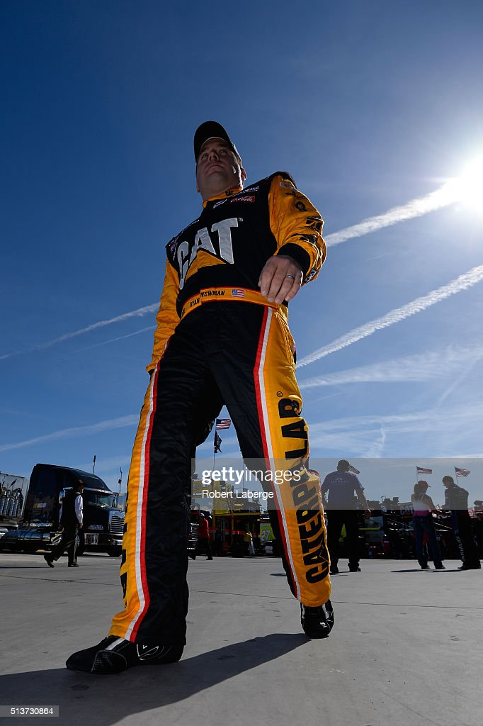 Ryan Newman driver of the Caterpillar Chevrolet prepares to drive during practice for the NASCAR Sprint Cup Series Kobalt 400 at Las Vegas Motor...