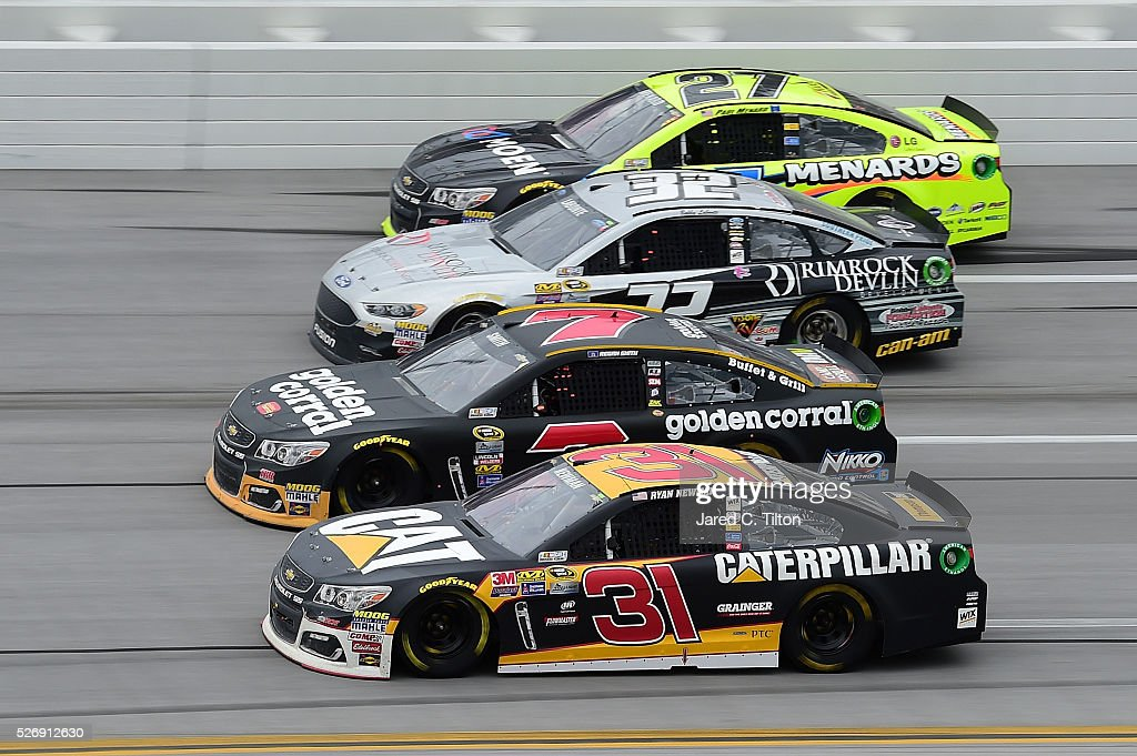 Ryan Newman, driver of the #31 Caterpillar Chevrolet, Regan Smith, driver of the #7 Golden Corral Chevrolet, Bobby Labonte, driver of the #32 Rimrock Devlin Ford, and Paul Menard, driver of the #27 Moen/Menards Chevrolet, race during the NASCAR Sprint Cup Series GEICO 500 at Talladega Superspeedway on May 1, 2016 in Talladega, Alabama.