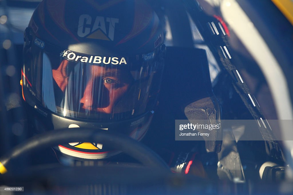 Ryan Newman driver of the Caterpillar Chevrolet sits in his car during qualifying for the NASCAR Sprint Cup Series Quicken Loans Race for Heroes 500...