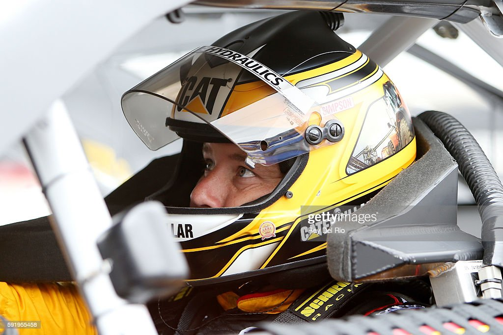 Ryan Newman driver of the Caterpillar Chevrolet sits in his car during practice for the NASCAR Sprint Cup Series Bass Pro Shops NRA Night Race at...