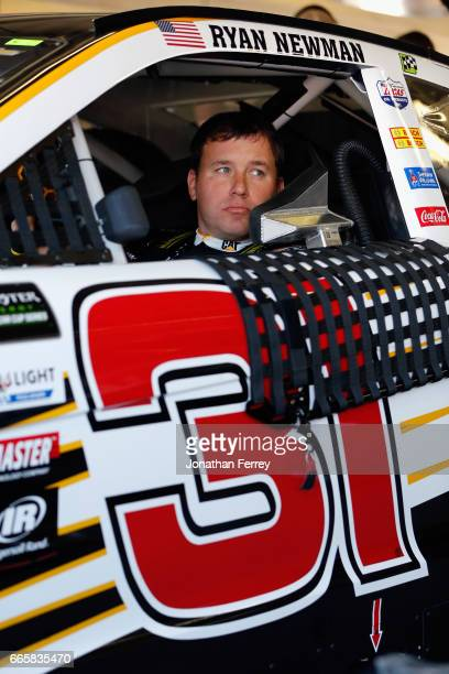 Ryan Newman driver of the Caterpillar Chevrolet sits in his car during practice for the Monster Energy NASCAR Cup Series O'Reilly Auto Parts 500 at...