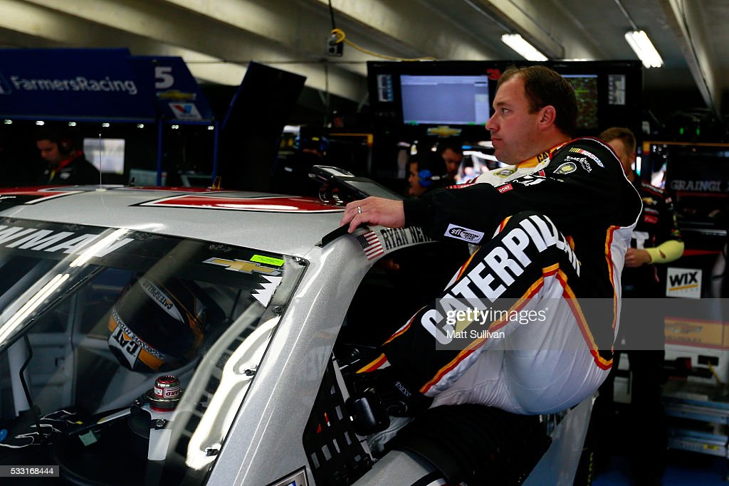 Ryan Newman driver of the Caterpillar/Grainger Chevrolet gets in his car prior to practice for the NASCAR Sprint Cup Series Sprint AllStar Race at...