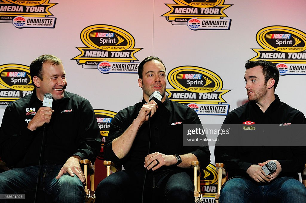 Ryan Newman, driver of the #31 Caterpillar/Quicken Loans Chevrolet, <a gi-track='captionPersonalityLinkClicked' href=/galleries/search?phrase=Paul+Menard&family=editorial&specificpeople=540271 ng-click='$event.stopPropagation()'>Paul Menard</a>, driver of the #27 Menard's Chevrolet, and <a gi-track='captionPersonalityLinkClicked' href=/galleries/search?phrase=Austin+Dillon&family=editorial&specificpeople=5075945 ng-click='$event.stopPropagation()'>Austin Dillon</a>, driver of the #3 DOW/Cheerios Chevrolet, speak with the media during the NASCAR Sprint Media Tour at Charlotte Convention Center on January 28, 2014 in Charlotte, North Carolina.