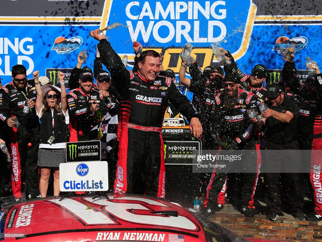 Ryan Newman, driver of the #31 Grainger Chevrolet, celebrates in victory lane after winning the Monster Energy NASCAR Cup Series Camping World 500 at Phoenix International Raceway on March 19, 2017 in Avondale, Arizona.