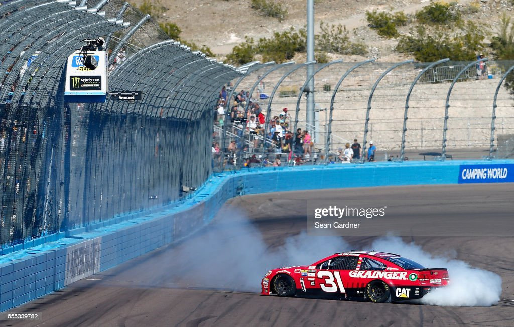 Ryan Newman, driver of the #31 Grainger Chevrolet, does a burnout after winning the Monster Energy NASCAR Cup Series Camping World 500 at Phoenix International Raceway on March 19, 2017 in Avondale, Arizona.