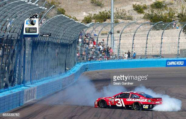 Ryan Newman driver of the Grainger Chevrolet does a burnout after winning the Monster Energy NASCAR Cup Series Camping World 500 at Phoenix...