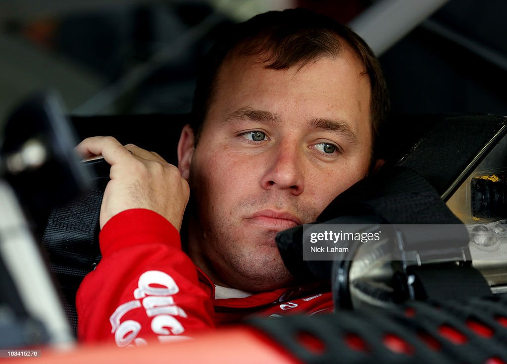 Ryan Newman, driver of the #39 Quicken Loans Chevrolet, sits in his car in the garage area during practice for the NASCAR Sprint Cup Series Kobalt Tools 400 at Las Vegas Motor Speedway on March 9, 2013 in Las Vegas, Nevada.