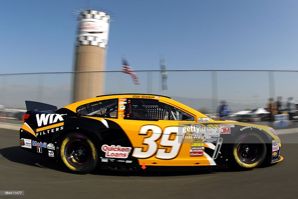 Ryan Newman, driver of the #39 WIX Filters Chevrolet, drives to the garage area during practice for the NASCAR Sprint Cup Series Auto Club 400 at Auto Club Speedway on March 23, 2013 in Fontana, California.