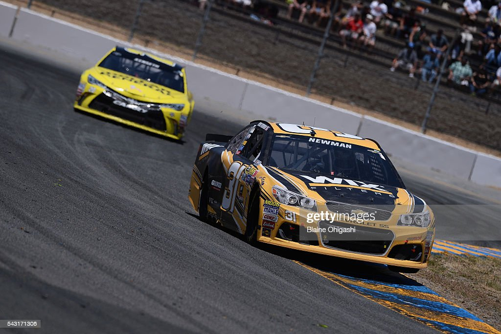 <a gi-track='captionPersonalityLinkClicked' href=/galleries/search?phrase=Ryan+Newman+-+Race+Car+Driver&family=editorial&specificpeople=12773547 ng-click='$event.stopPropagation()'>Ryan Newman</a>, driver of the #31 WIX Filters Chevrolet, leads <a gi-track='captionPersonalityLinkClicked' href=/galleries/search?phrase=Matt+Kenseth&family=editorial&specificpeople=204192 ng-click='$event.stopPropagation()'>Matt Kenseth</a>, driver of the #20 Dollar General Toyota, during the NASCAR Sprint Cup Series Toyota/Save Mart 350 at Sonoma Raceway on June 26, 2016 in Sonoma, California.