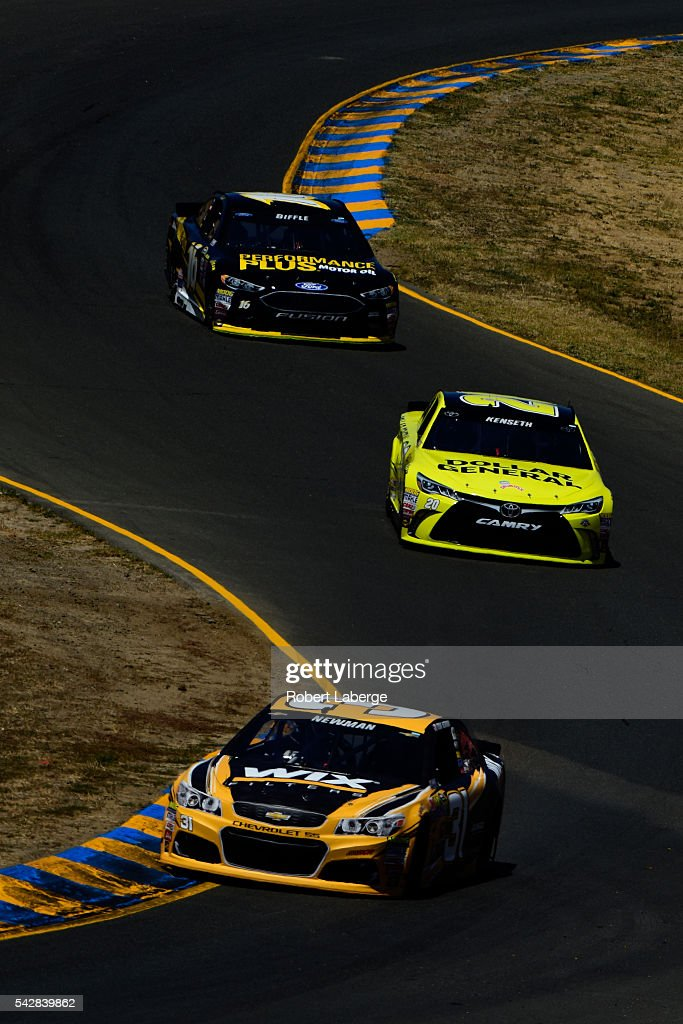 <a gi-track='captionPersonalityLinkClicked' href=/galleries/search?phrase=Ryan+Newman+-+Race+Car+Driver&family=editorial&specificpeople=12773547 ng-click='$event.stopPropagation()'>Ryan Newman</a>, driver of the #31 WIX Filters Chevrolet, <a gi-track='captionPersonalityLinkClicked' href=/galleries/search?phrase=Matt+Kenseth&family=editorial&specificpeople=204192 ng-click='$event.stopPropagation()'>Matt Kenseth</a>, driver of the #20 Dollar General Toyota, and <a gi-track='captionPersonalityLinkClicked' href=/galleries/search?phrase=Greg+Biffle&family=editorial&specificpeople=209093 ng-click='$event.stopPropagation()'>Greg Biffle</a>, driver of the #16 Performance Plus Motor Oil Ford, drive during practice for the NASCAR Sprint Cup Series Toyota/Save Mart 350 at Sonoma Raceway on June 24, 2016 in Sonoma, California.