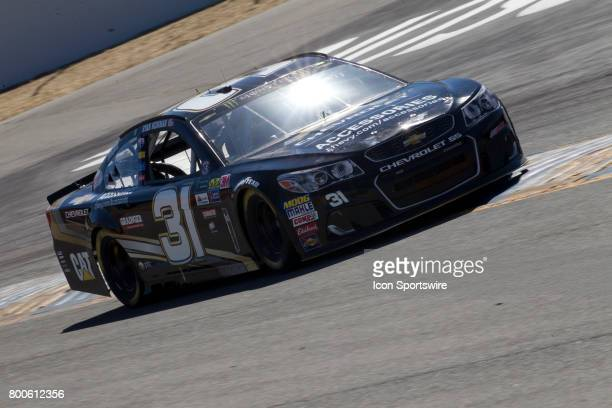 Ryan Newman straddles the rumble strips of Turn 4A during the Toyota/Save Mart 350 practice on June 23 2017 at Sonoma Raceway in Sonoma CA