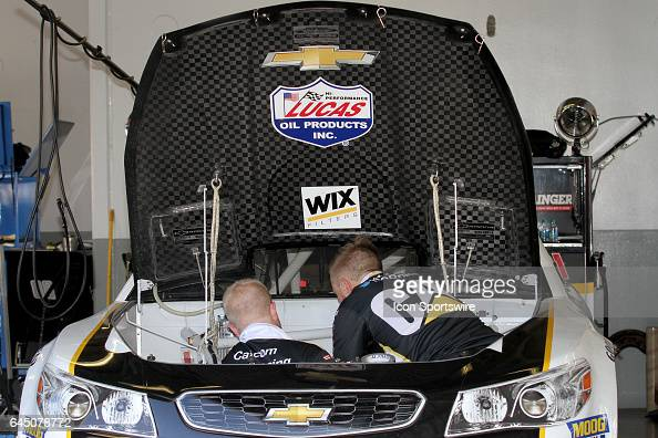 Ryan Newman's pit crew changes his engine during practice for the NASCAR Monster Energy Cup Series Daytona 500 on February 24 at the Daytona...