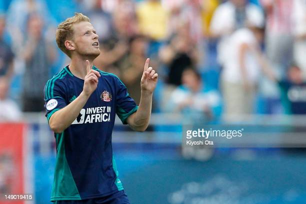 Ryan Noble of Sunderland celebrates after scoring the winning goal against FC Groningen during the Peace Cup 3rd place playoff match between...