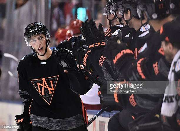 Ryan NugentHopkins of Team North America high fives the bench after scoring a third period goal on Team Russia during the World Cup of Hockey 2016 at...