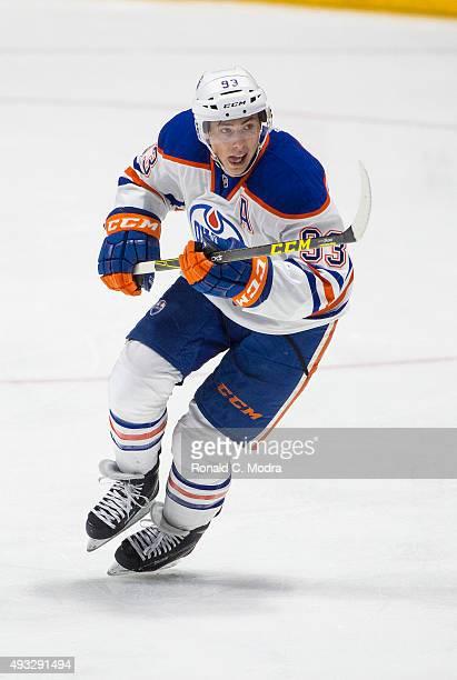 Ryan NugentHopkins of the Edmonton Oilers skates during a NHL game against the Nashville Predators at Bridgestone Arena on October 10 2015 in...