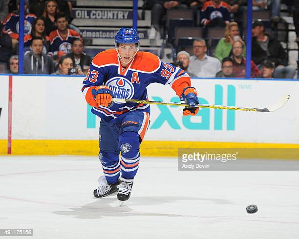 Ryan NugentHopkins of the Edmonton Oilers skates during a preseason game against the Arizona Coyotes on September 29 2015 at Rexall Place in Edmonton...