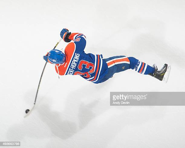 Ryan NugentHopkins of the Edmonton Oilers skates during pre game warmups against the Detroit Red Wings on October 21 2015 at Rexall Place in Edmonton...