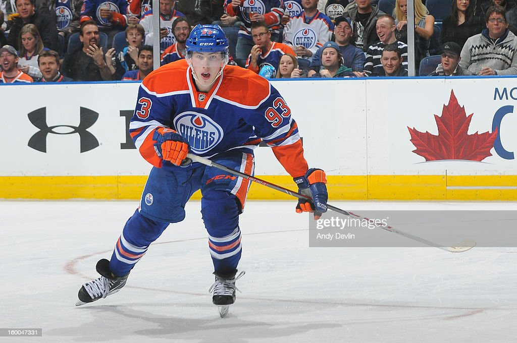 Ryan Nugent-Hopkins of the Edmonton Oilers skates on the ice in a game against the Los Angeles Kings at Rexall Place on January 24, 2013 in Edmonton, Alberta, Canada.